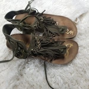 Sam Edelman green fringe sandals